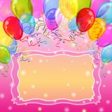 Holiday background with balloons. Holiday background with various color balloons, frame and stars. Vector eps10, contains transparencies Stock Photos