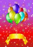 Holiday background with balloons. Holiday background, balloons in bunch with a gold banner. Vector eps10, contains transparencies Royalty Free Stock Photo