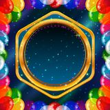 Holiday background with balloons frame. Holiday background for web design with colorful balloons and golden frame on abstract space with dark blue sky and stars Stock Photo