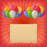 Holiday background, balloons with paper Royalty Free Stock Photography