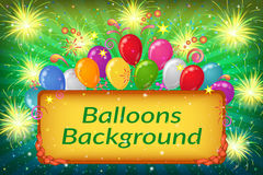 Holiday Background with Balloons. Holiday Background with Plate, Sparks, Patterns, Fireworks and Colorful Balloons on Green. Eps10, Contains Transparencies Royalty Free Stock Image
