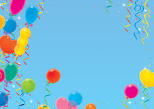 Holiday background with balloons and ribbons. A high-resolution holiday background with the flying many-colored balloons and the colorful ribbons Royalty Free Stock Image