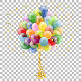 Holiday Background with Balloons. Streamer and Confetti on transparent background, isolated vector illustration Stock Photos