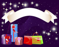 Holiday background with a banner and gifts. Stock Images