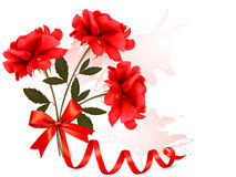 Holiday background with beautiful red roses and a  Stock Image