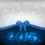 Holiday background with blue bow ribbon. New year 2015 holiday shiny background with blue bow ribbon Royalty Free Stock Photos