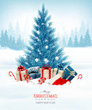 Holiday background with a blue Christmas tree and presents. With santa hat. Vector Stock Photo
