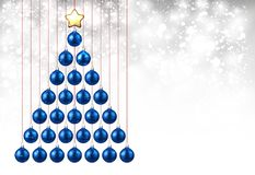 Holiday background with blue Christmas tree. Shining New Year background with blue Christmas balls. Vector illustration Royalty Free Stock Photos