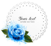 Holiday background with blue flower and gift card. Royalty Free Stock Photos