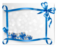 Holiday background with blue gift bow with gift bo Royalty Free Stock Photo