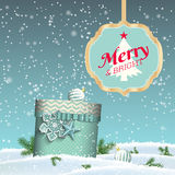 Holiday background, blue gift box, sign with text Royalty Free Stock Photography