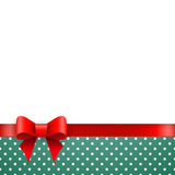 Holiday background blue polka dots with ribbon and bow Stock Photo