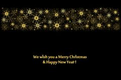 Holiday background, border of golden snowflakes on black. Festive background, border of golden snowflakes and text on black, banner, vector Stock Photo