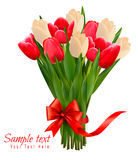 Holiday background with bouquet of colorful flowers Stock Photo