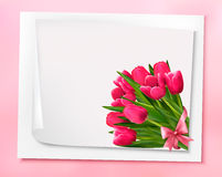 Holiday background with bouquet of pink flowers with bow Royalty Free Stock Images