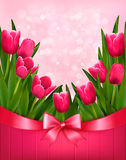 Holiday background with bouquet of pink flowers wi Stock Images
