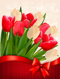 Holiday background with bouquet of red flowers wit Stock Image