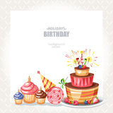 Holiday background. With cake cupcakes and lollipop Royalty Free Stock Image