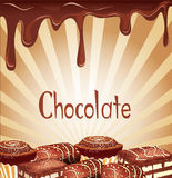 Holiday background with chocolate candy Stock Images