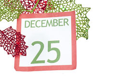 Holiday Background with Christmas Calendar Stock Photo