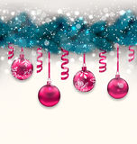 Holiday background with Christmas fir branches and glass balls, Royalty Free Stock Photography