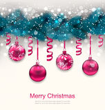 Holiday Background with Christmas Fir Branches. Illustration Holiday Background with Christmas Fir Branches and Glass Balls - Vector Stock Photo