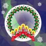 Holiday background with Christmas garland and candlestick. Copy space.Vector clip art Royalty Free Stock Image