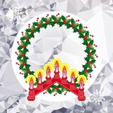 Holiday background with Christmas garland and candlestick. Copy space.Vector clip art Stock Image