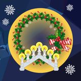 Holiday background with Christmas garland and candlestick. Copy space.Vector clip art Royalty Free Stock Photography