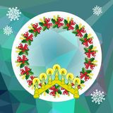 Holiday background with Christmas garland and candlestick. Copy space.Vector clip art Stock Photography