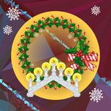 Holiday background with Christmas garland and candlestick. Copy space.Vector clip art Stock Images