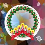 Holiday background with Christmas garland and candlestick. Copy space.Vector clip art Royalty Free Stock Images