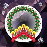 Holiday background with Christmas garland and candlestick. Copy space.Vector clip art Royalty Free Stock Photo