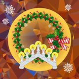Holiday background with Christmas garland and candlestick. Copy space.Vector clip art Stock Photo