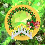 Holiday background with Christmas garland and candlestick. Copy space.Vector clip art Royalty Free Stock Photos