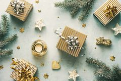 Holiday background with christmas gifts stock photo