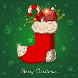 Holiday background with Christmas hand drawn sock Royalty Free Stock Images