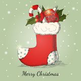 Holiday background with Christmas hand drawn sock Royalty Free Stock Photography