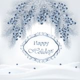 Holiday background with Christmas tree and blueberries Royalty Free Stock Photography