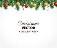 Christmas background with fir tree garland, hanging balls and ribbon. Holiday background with christmas tree garland and ornaments. Hanging gold and red balls Royalty Free Stock Image