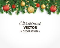 Christmas background with fir tree garland, hanging balls and rib. Holiday background with christmas tree garland and ornaments. Hanging gold and red balls and Royalty Free Stock Photos