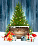 Holiday background with a Christmas tree and presents with santa. Hat. Vector Royalty Free Stock Photo