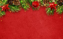 Holiday background with Christmas tree twigs, cones, balls abd l. Ights. Flat lay. Top view stock images