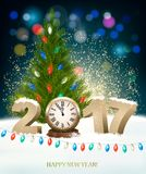 Holiday background with 2017 and Christmas tree. Vector Royalty Free Stock Photography