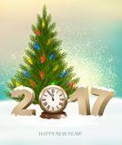 Holiday background with 2017 and Christmas tree. Vector Stock Images