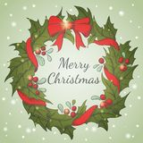 Holiday background with Christmas wreath Royalty Free Stock Photos