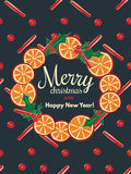 Holiday background with cinnamon and orange Stock Image