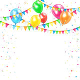 Holiday background. With colored balloons, confetti and pennants, illustration Royalty Free Stock Photography