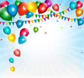Holiday background with colorful balloons and flag. S. Vector Stock Photos