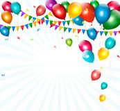 Holiday background with colorful balloons and flag Royalty Free Stock Photos